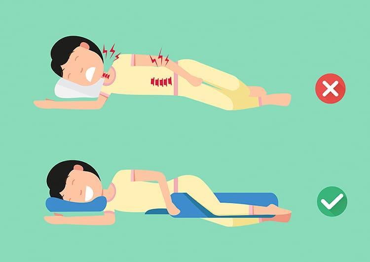 mejor postura para dormir con una vértebra rota