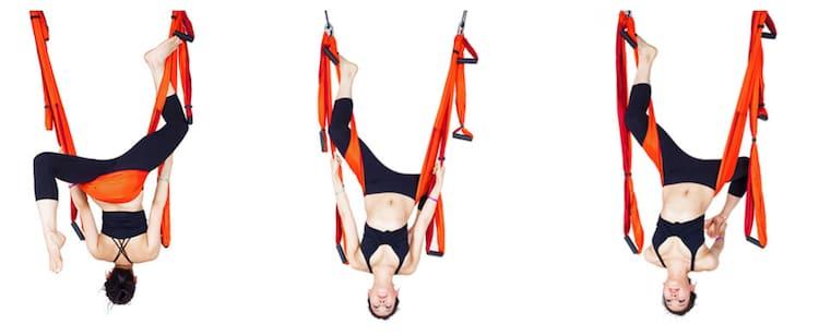Pose de la paloma aero yoga