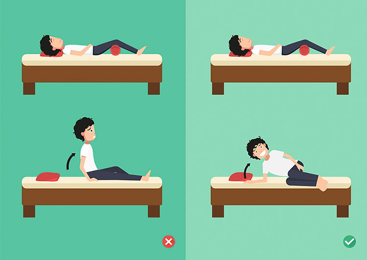 levantarse de la cama con vertebra rota